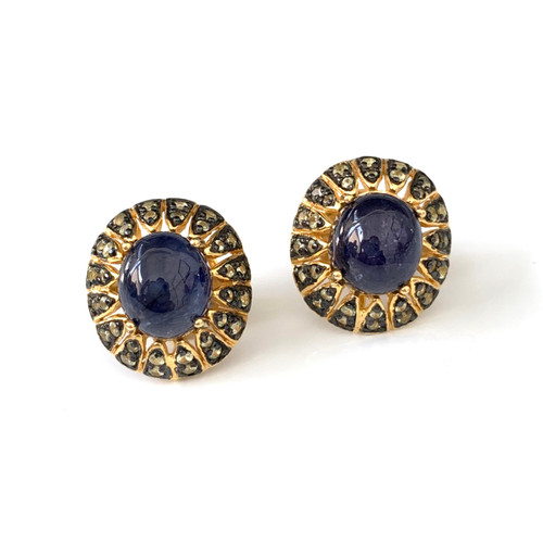 Antique-look Oval Sapphire and Peridot Earrings