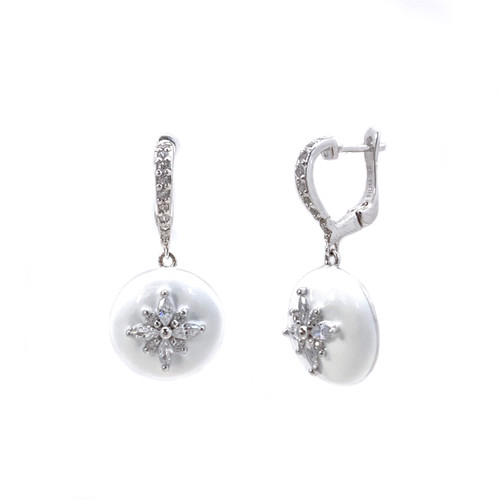 Flower Pattern Round White Enamel CZ Dangle Earrings