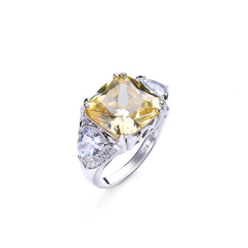 6ct Cushion Cut Faux Canary Diamond Ring