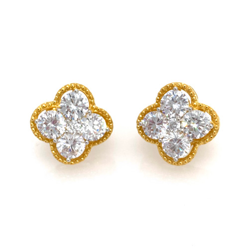 Clover CZ Button Vermeil Earrings