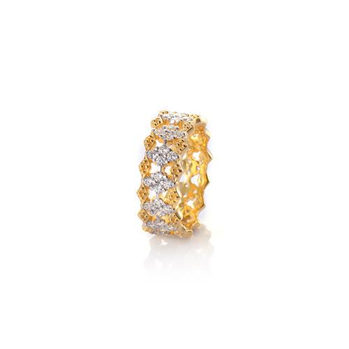 Diamond Pattern CZ Vermeil Ring