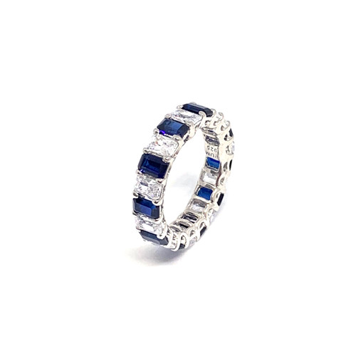 Octagon Faux Diamond and Lab Sapphire Infinity Band Ring