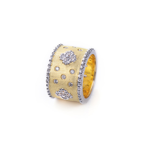 Clover Pattern Wide Band Vermeil Ring