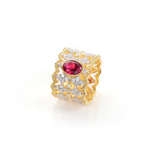 Oval Lab Ruby Center Diamond Pattern Wide Band Ring
