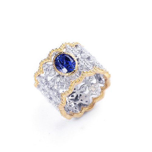Oval Lab Sapphire Center Diamond Pattern Wide Band Ring