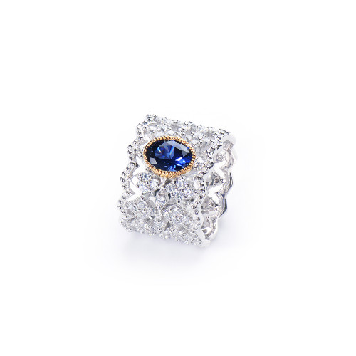 Oval Lab Sapphire Center Diamond Pattern Wide Band Platinum Tone Ring