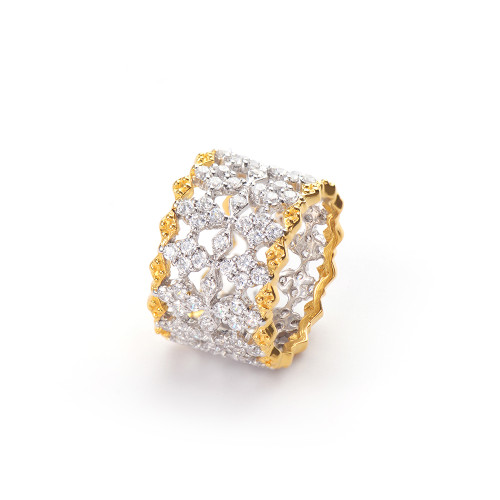 Diamond Pattern CZ Wide Band Vermeil Ring