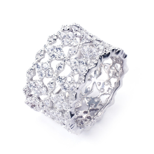 Diamond Pattern CZ Wide Band Ring