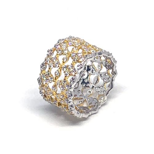 Diamond Pattern CZ Wide Band Two Tone Ring