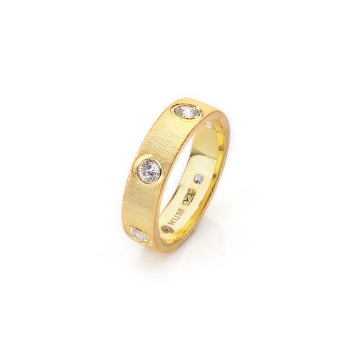 Bezel Set CZ Wedding Band Vermeil Ring