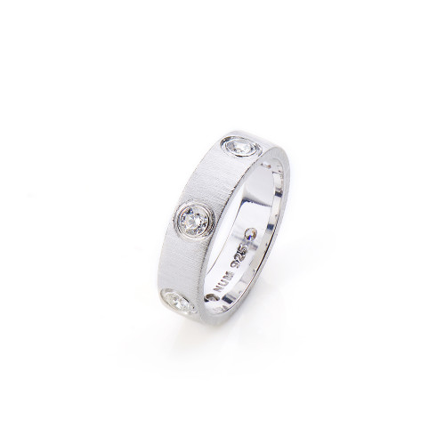 Bezel Set CZ Wedding Band Ring