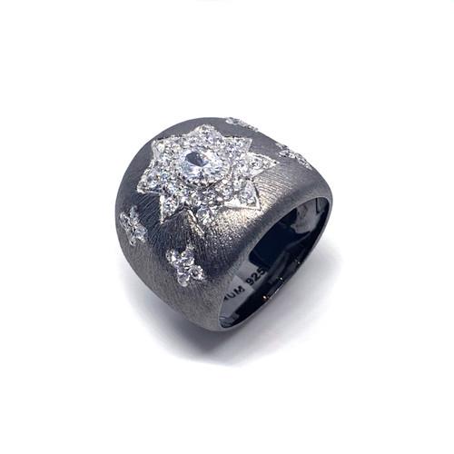Star Pattern Black Rhodium Ring