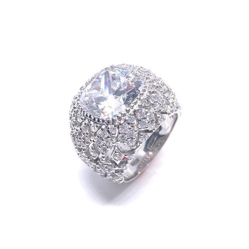 Cushion Cut Faux Diamond Cocktail Ring