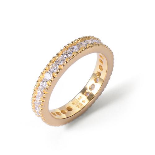 Faux Diamond CZ Wedding Band Vermeil Ring
