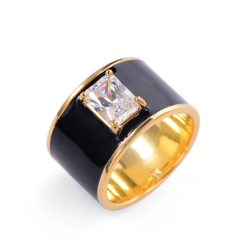 Octagon Faux Diamond Black Enamel Wide Band Vermeil Ring