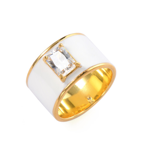Octagon Faux Diamond White Enamel Wide Band Vermeil Ring