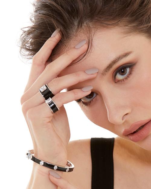 Octagon Faux Diamond Black Enamel Band Ring