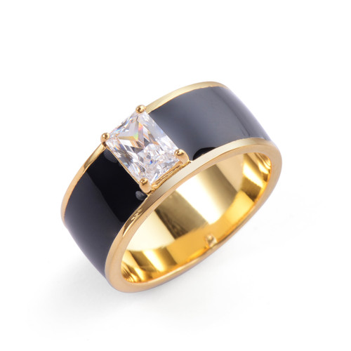 Octagon Faux Diamond Black Enamel Band Vermeil Ring
