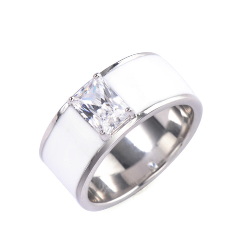 Octagon Faux Diamond White Enamel Band Ring