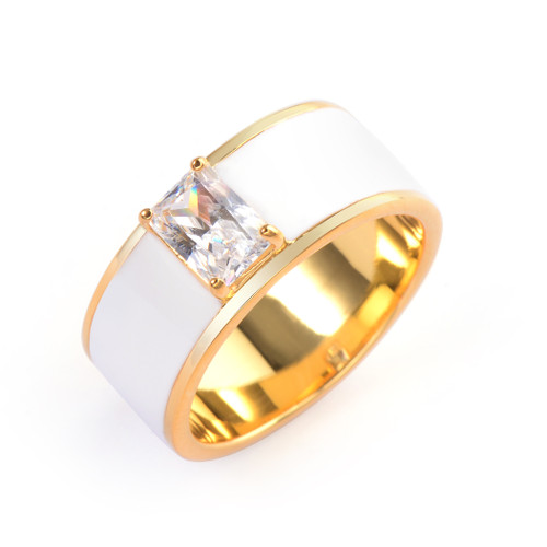 Octagon Faux Diamond White Enamel Band Vermeil Ring