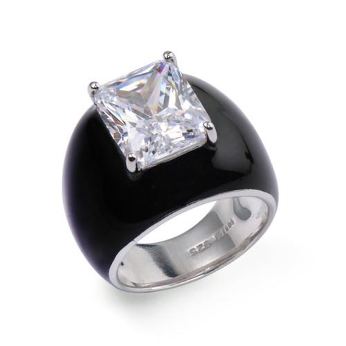 Octagon Faux Diamond Black Enamel Cocktail Ring