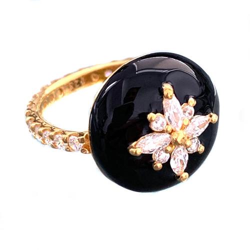 Flower Pattern Faux Diamond Black Enamel Vermeil Ring