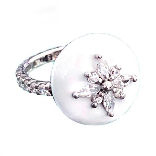 Flower Pattern Faux Diamond White Enamel Ring