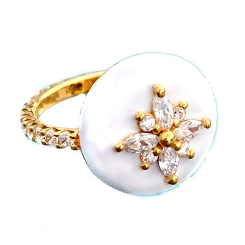 Flower Pattern Faux Diamond White Enamel Vermeil Ring