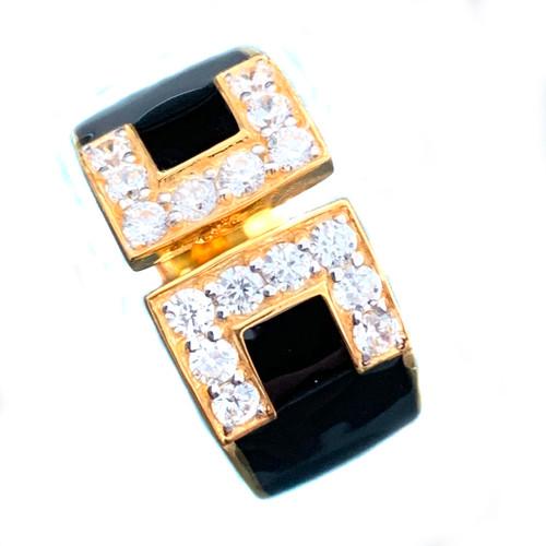 Double C Faux Diamond Black Enamel Band Vermeil Ring