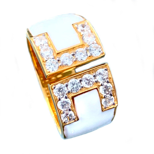 Double C Faux Diamond White Enamel Band Vermeil Ring