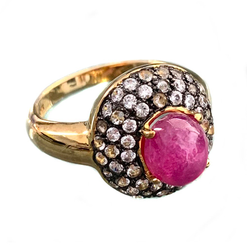 Antique-look Oval Ruby and White Topaz Ring