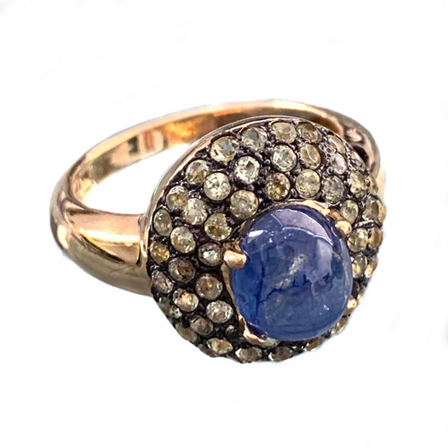 Antique-look Oval Sapphire and Peridot Ring