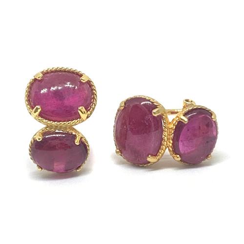 Double Oval Ruby Earrings
