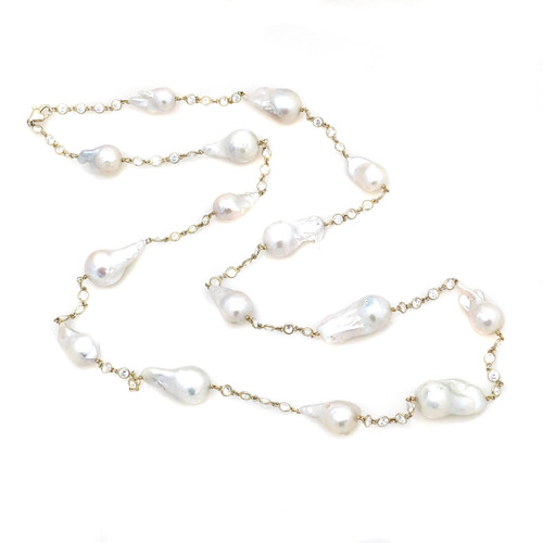Cultured Baroque Pearl Long Station Vermeil  Necklace