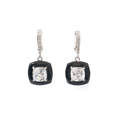 Cushion Black Enamel CZ Dangle Earrings