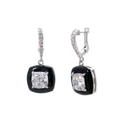 Cushion Black Enamel CZ Dangle Earrings