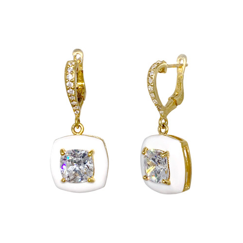 Cushion White Enamel CZ Dangle Vermeil Earrings