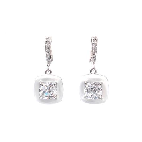 Cushion White Enamel CZ Dangle Earrings