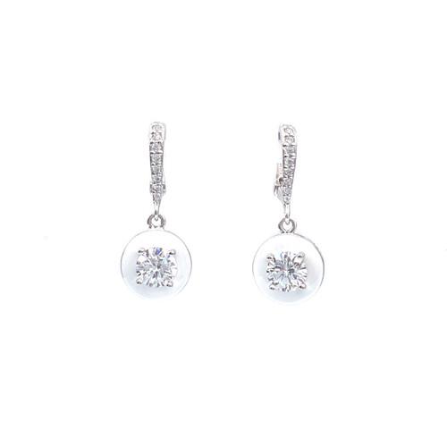 Round White Enamel CZ Dangle Earrings