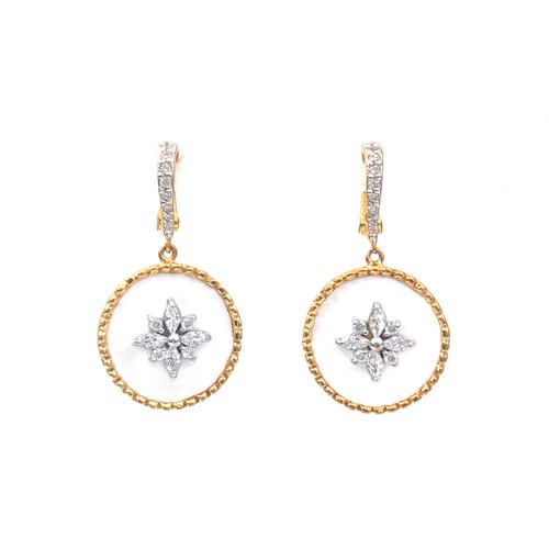 Flower Pattern Round White Enamel Vermeil Dangle Earrings