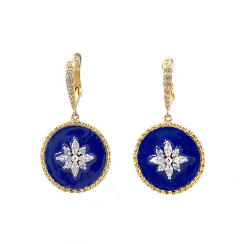 Flower Pattern Round Blue Enamel Vermeil Dangle Earrings