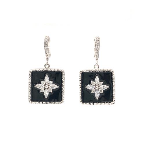 Flower Pattern Square Black Enamel Dangle Earrings