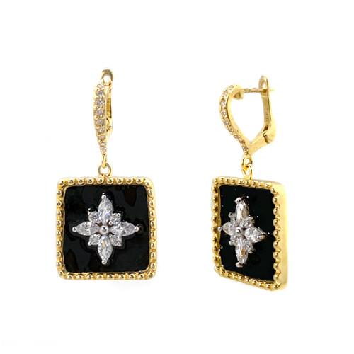 Flower Pattern Square Black Enamel Vermeil Dangle Earrings