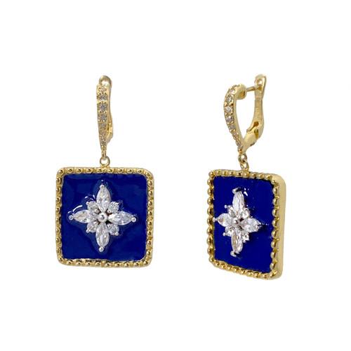 Flower Pattern Square Blue Enamel Vermeil Dangle Earrings