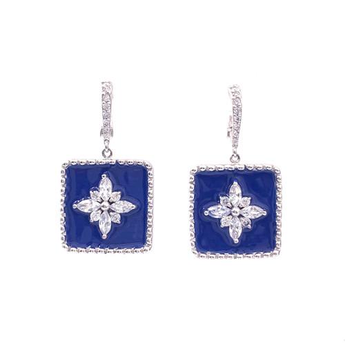 Flower Pattern Square Blue Enamel Dangle Earrings