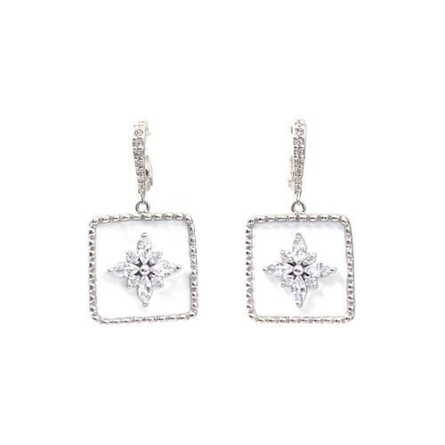 Flower Pattern Square White Enamel Dangle Earrings