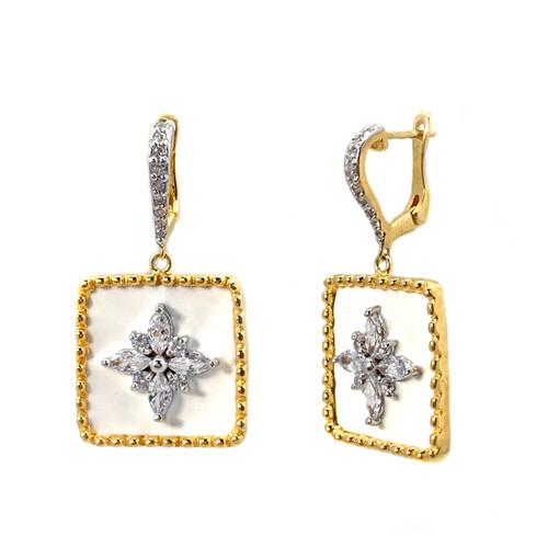 Flower Pattern Square White Enamel Vermeil Dangle Earrings