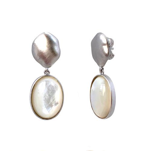 Oval Mother of Pearl Drop Earrings