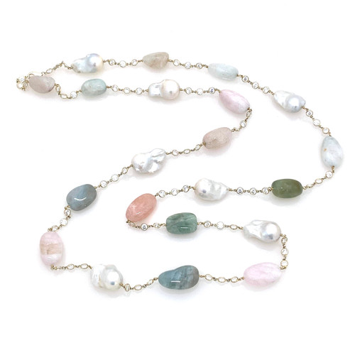 Tumbled Beryl and Cultured Baroque Pearl Long Station Necklace
