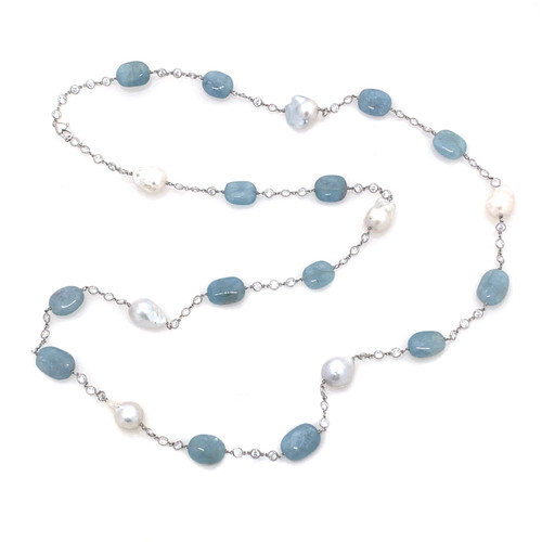 Tumbled Aquamarine and Cultured Baroque Pearl Long Station Necklace
